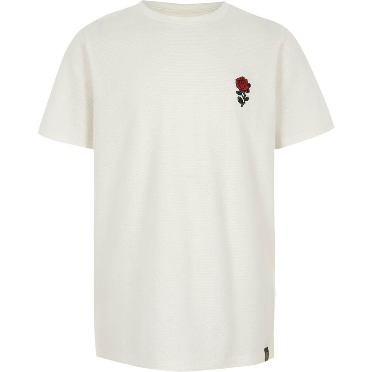 Boys white textured rose print T-shirt