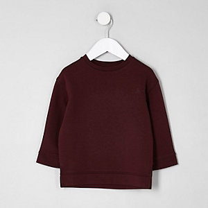 Mini boys burgundy chest print sweatshirt