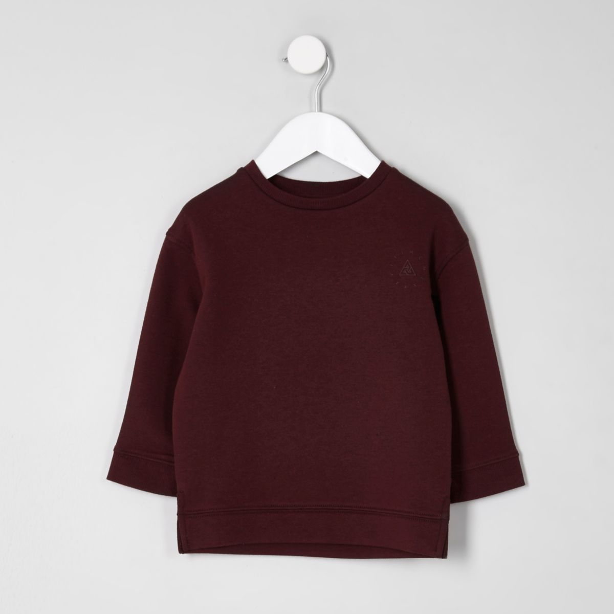 Mini boys burgundy chest print sweatshirt