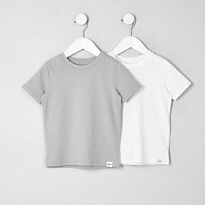 T-Shirts in Weiß und Grau, Multipack