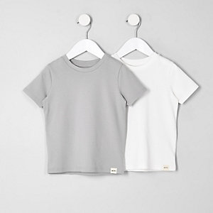 Mini - Multipack met wit en grijs T-shirt voor jongens