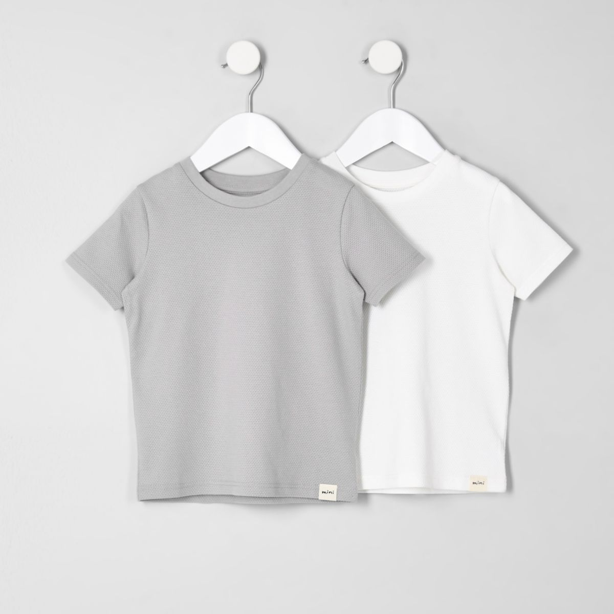 Mini boys white and grey T-shirt multipack