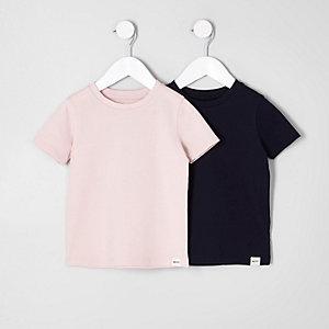 Mini - Set met roze en marineblauwe T-shirt met textuur voor jongens