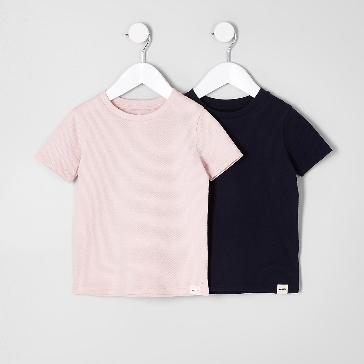 Mini boys pink and navy textured T-shirt pack
