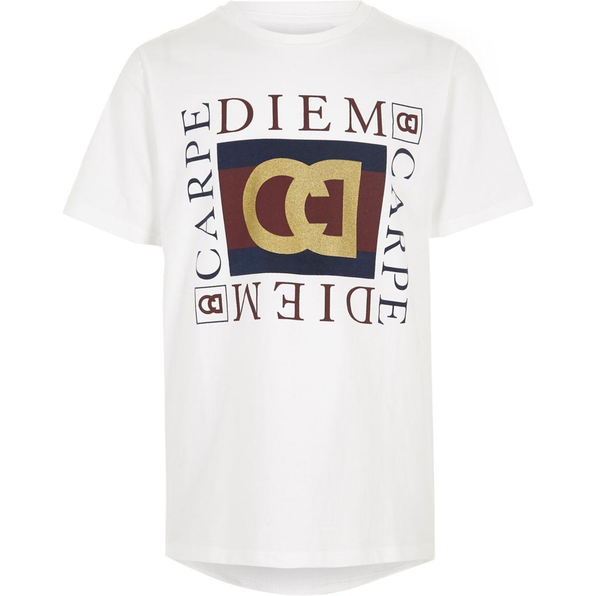 Boys white 'carpe diem' print T-shirt