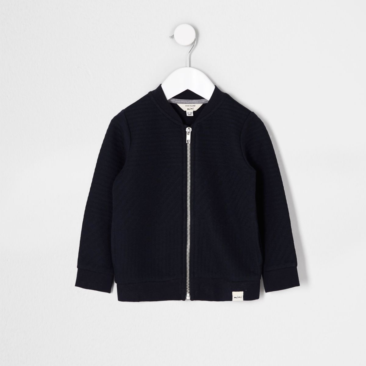 Mini boys navy quilted bomber jacket