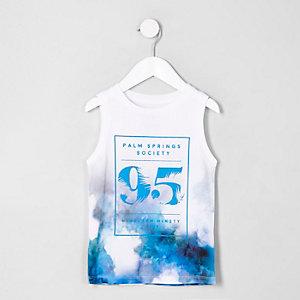 Mini - Wit 'palm springs' mesh hemdje voor jongens