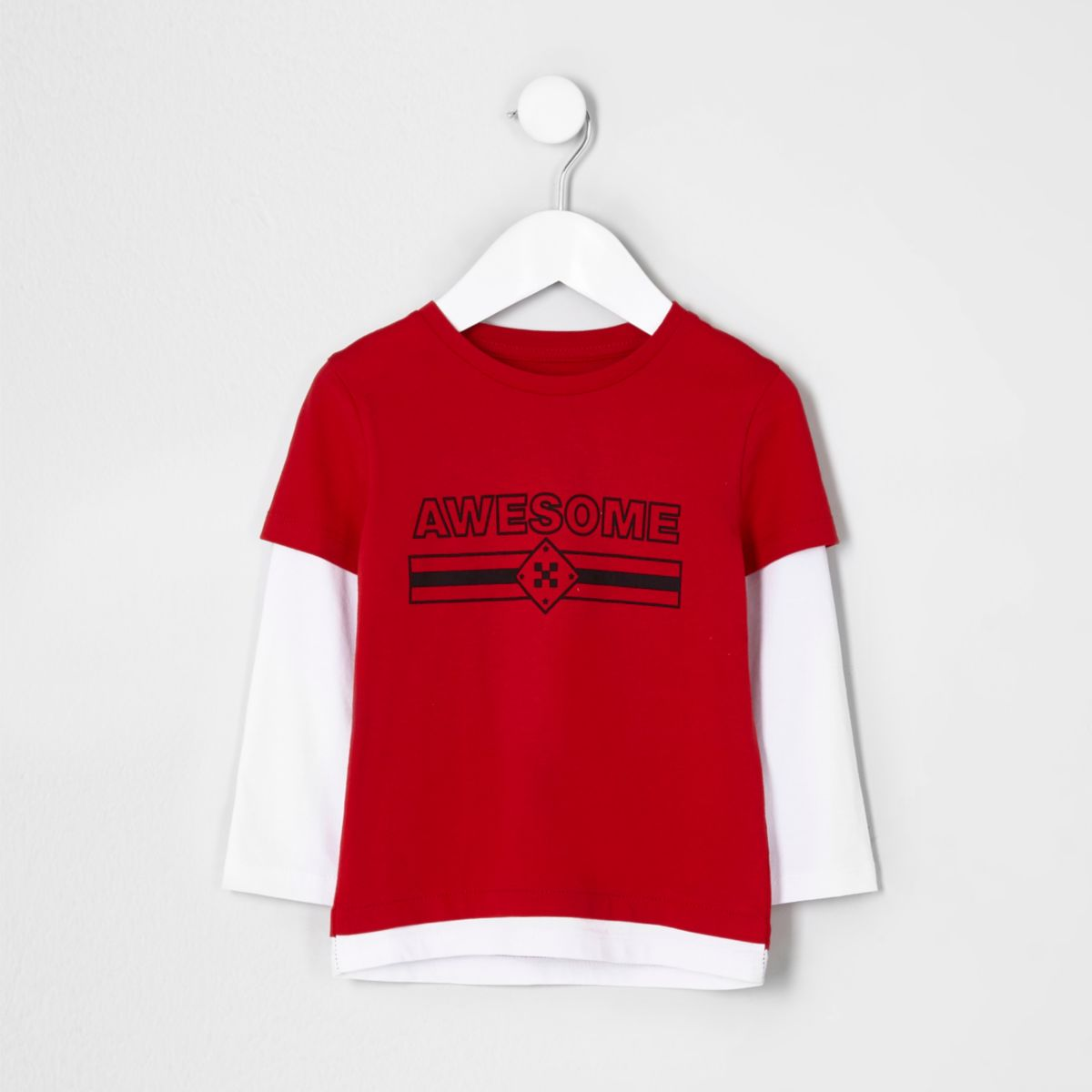 Mini boys red 'awesome' double layer T-shirt