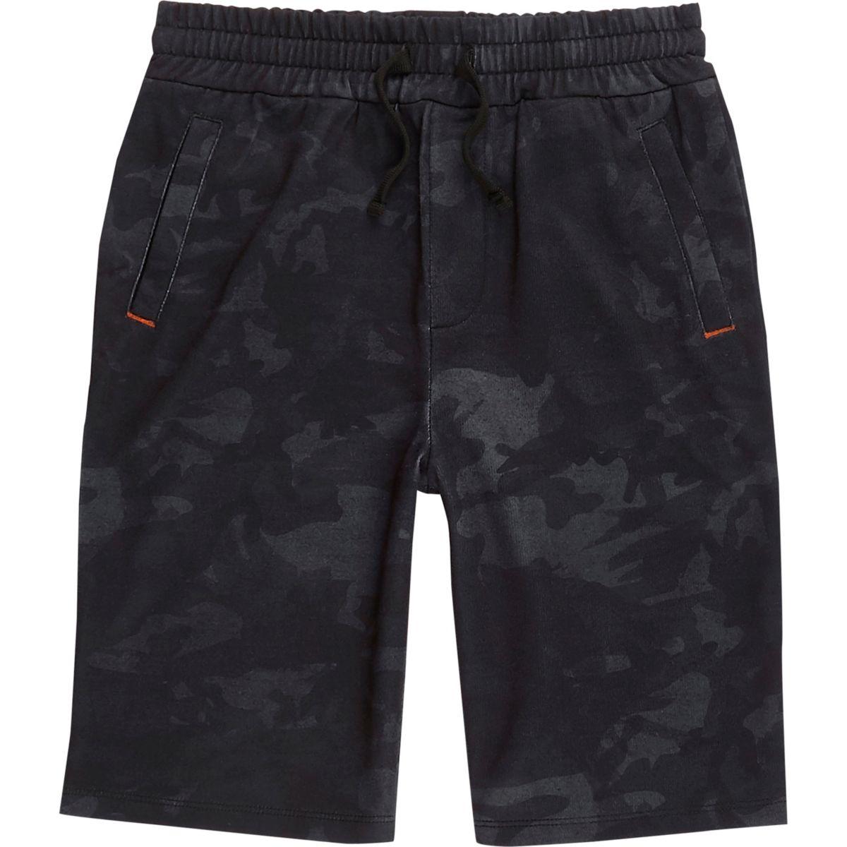 Short en jersey bleu marine et camouflage pour garçon
