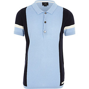 Boys light blue blocked knitted polo shirt