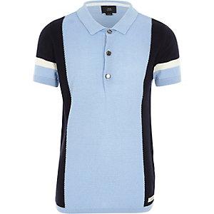 Boys light blue blocked knitted polo shirt