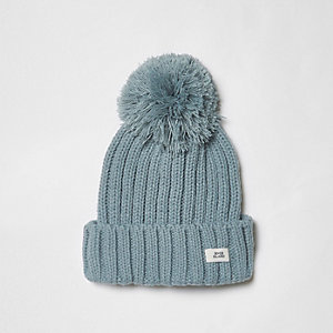 Boys light blue bobble top knit beanie hat
