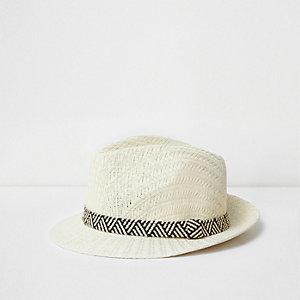 Boys cream straw trilby hat