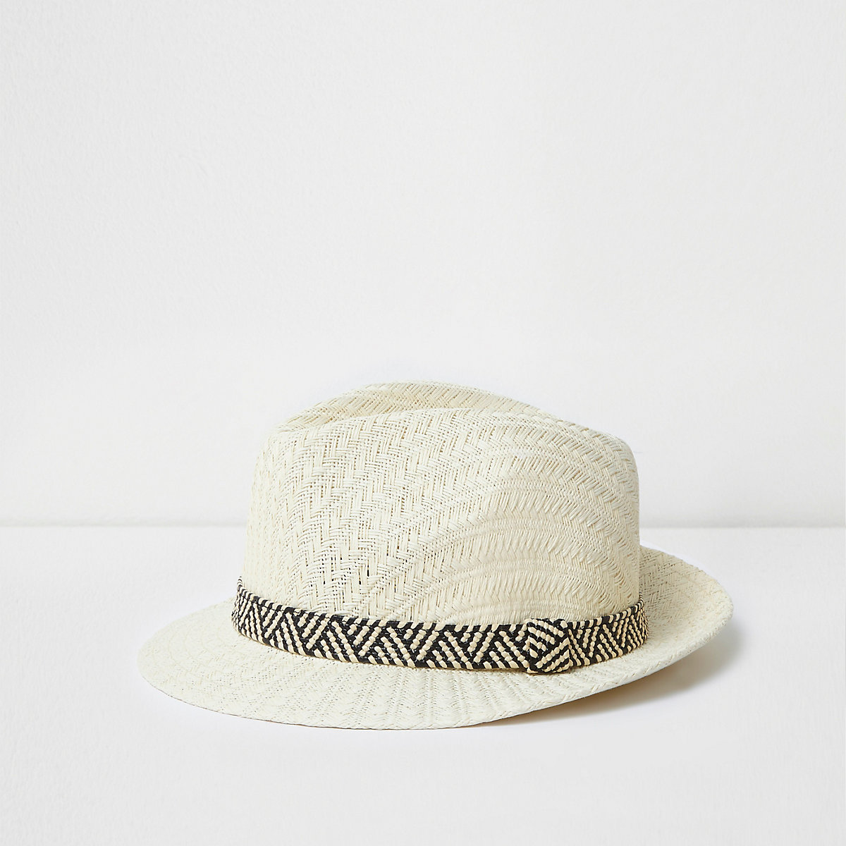 Boys cream straw trilby hat