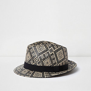 ​Boys black and brown straw trilby hat