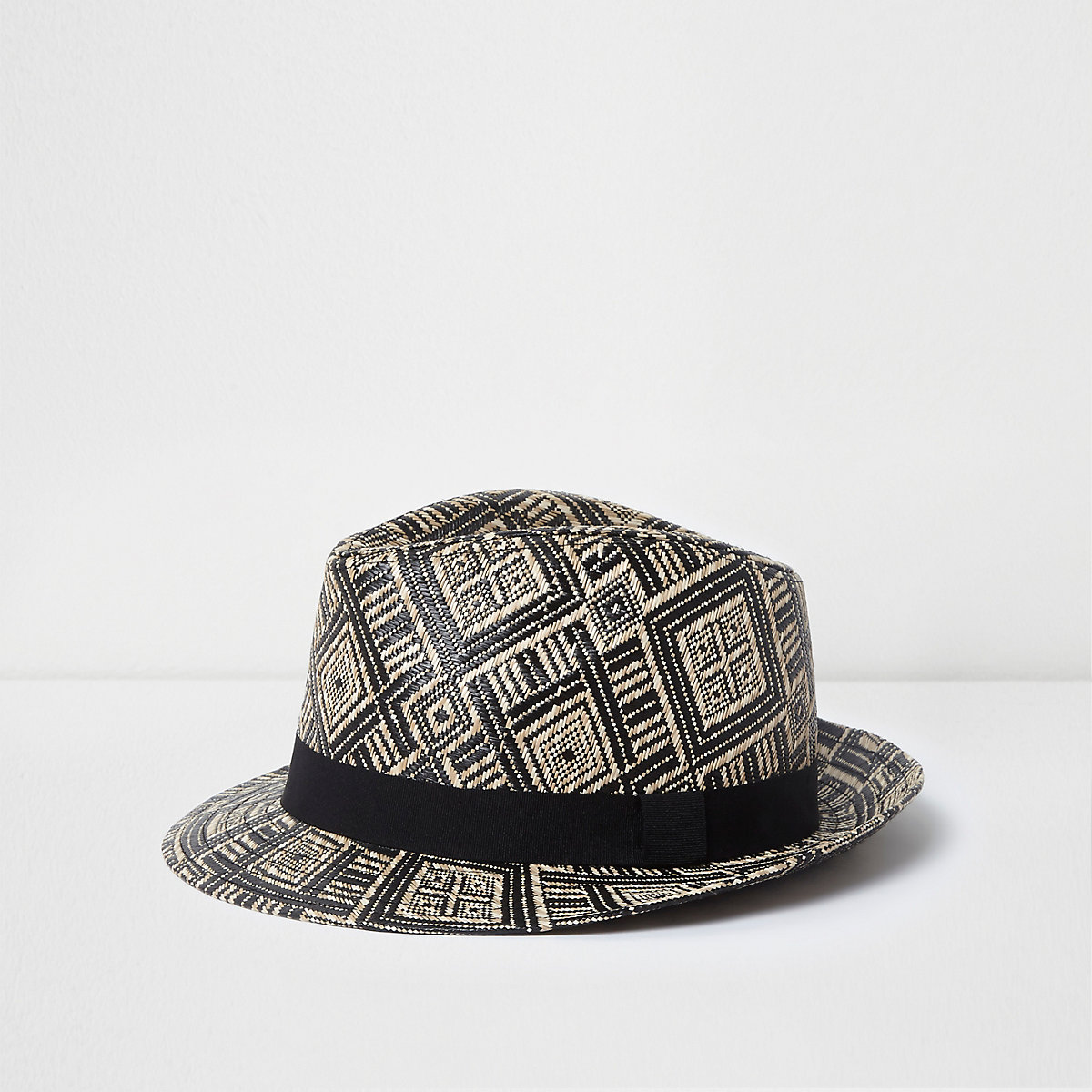 Boys black and brown straw trilby hat