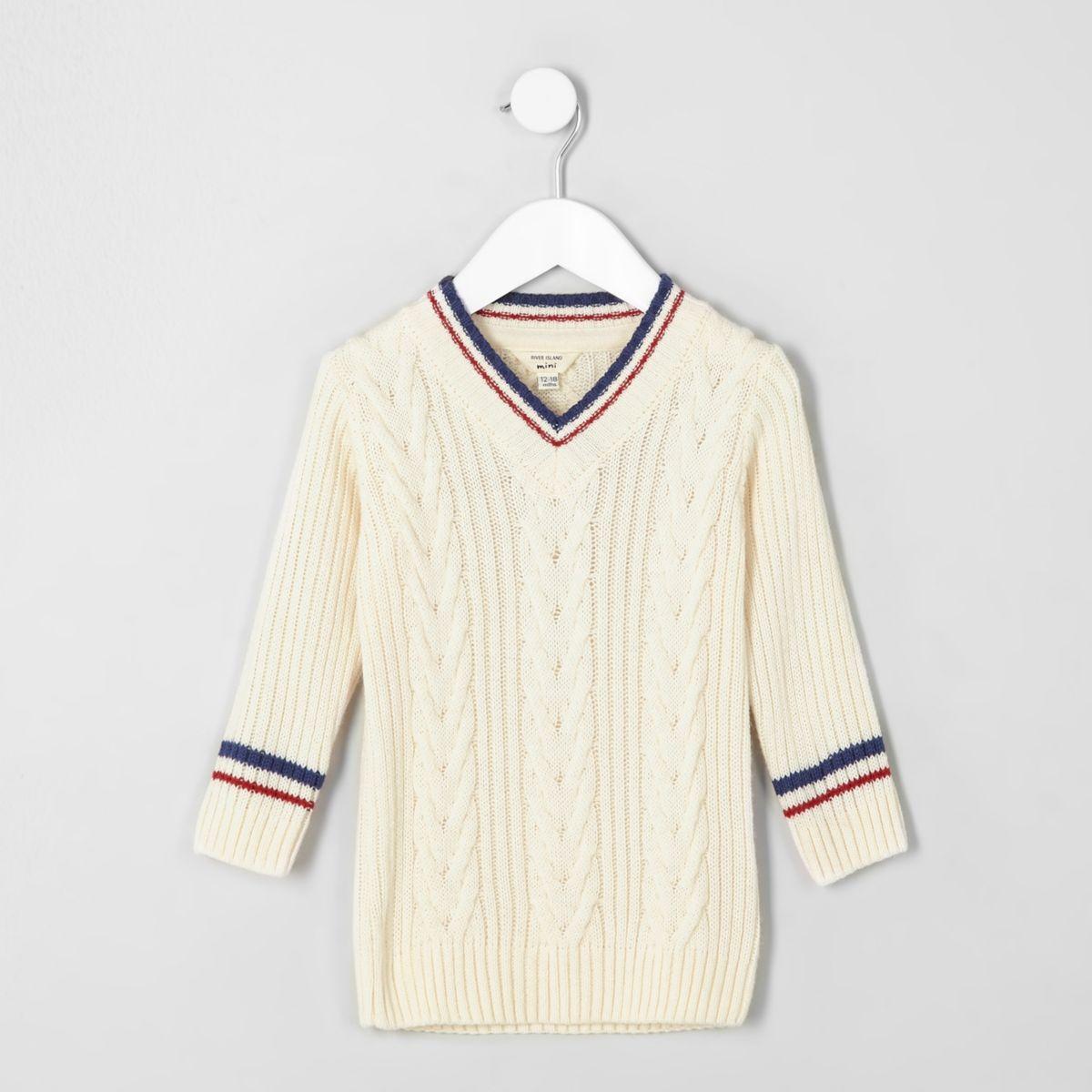 Mini boys cream cable knit cricket jumper