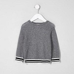 Mini - Zwarte pullover met contrasterend randjes voor jongens
