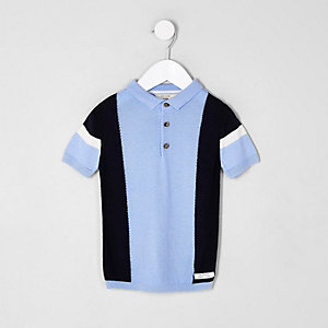 Polo en maille bleu colour block mini garçon
