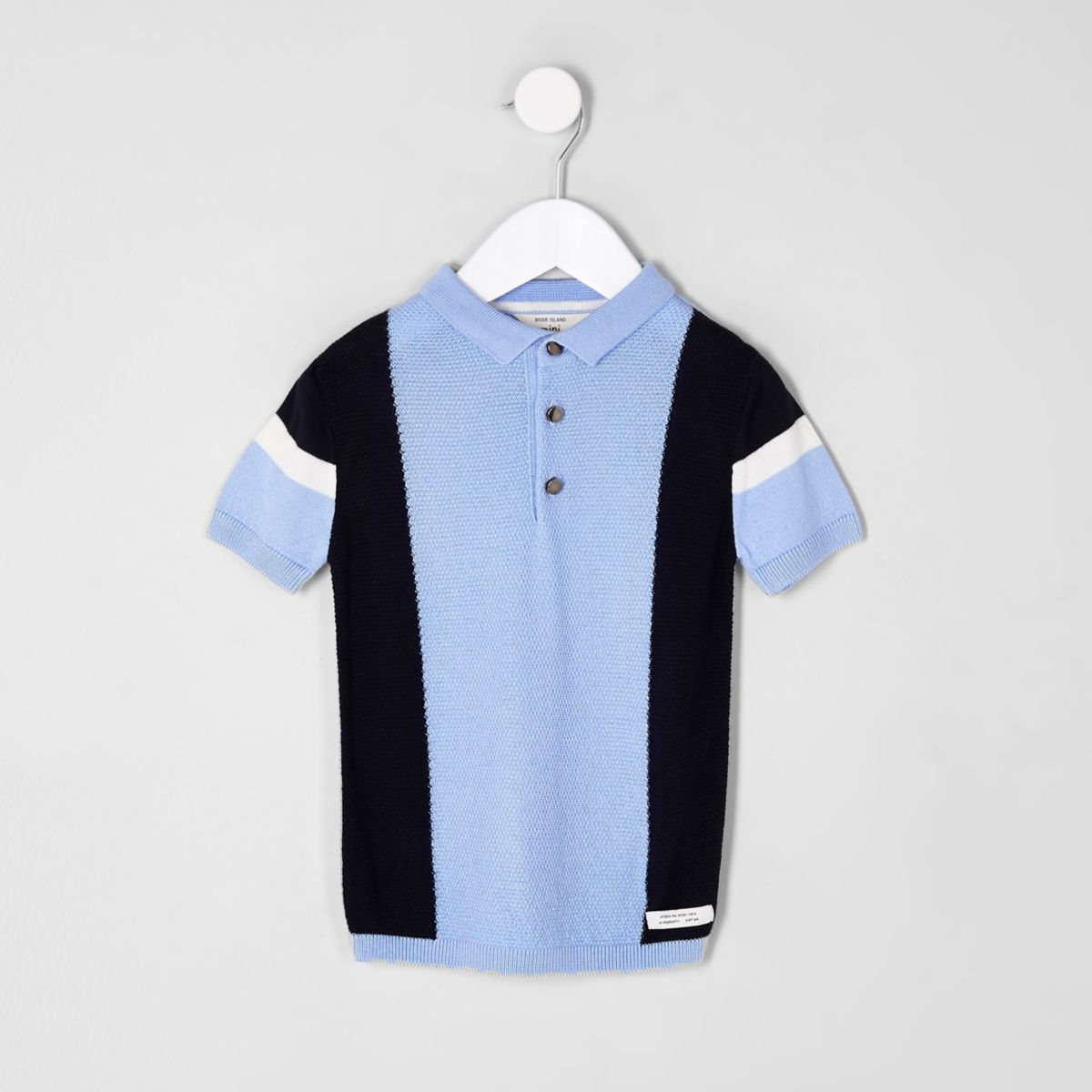 Mini boys blue blocked knitted polo shirt