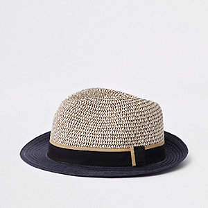 Mini boys beige straw hat