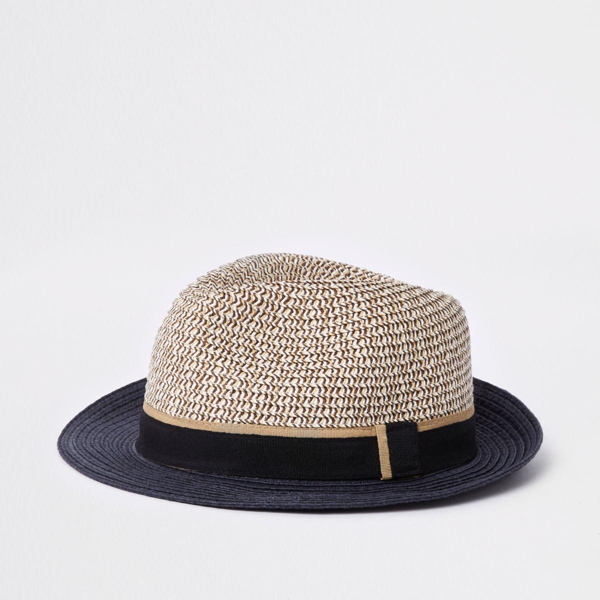Mini boys beige straw hat