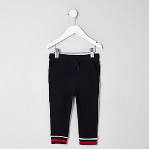 Mini boys navy stripe cuff joggers