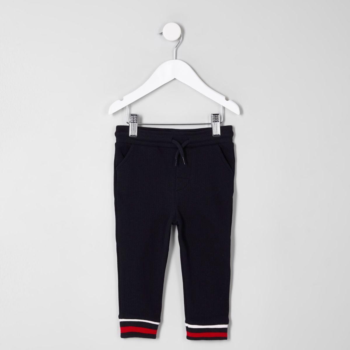 Mini boys navy stripe cuff joggers
