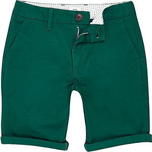 Boys green smart chino shorts
