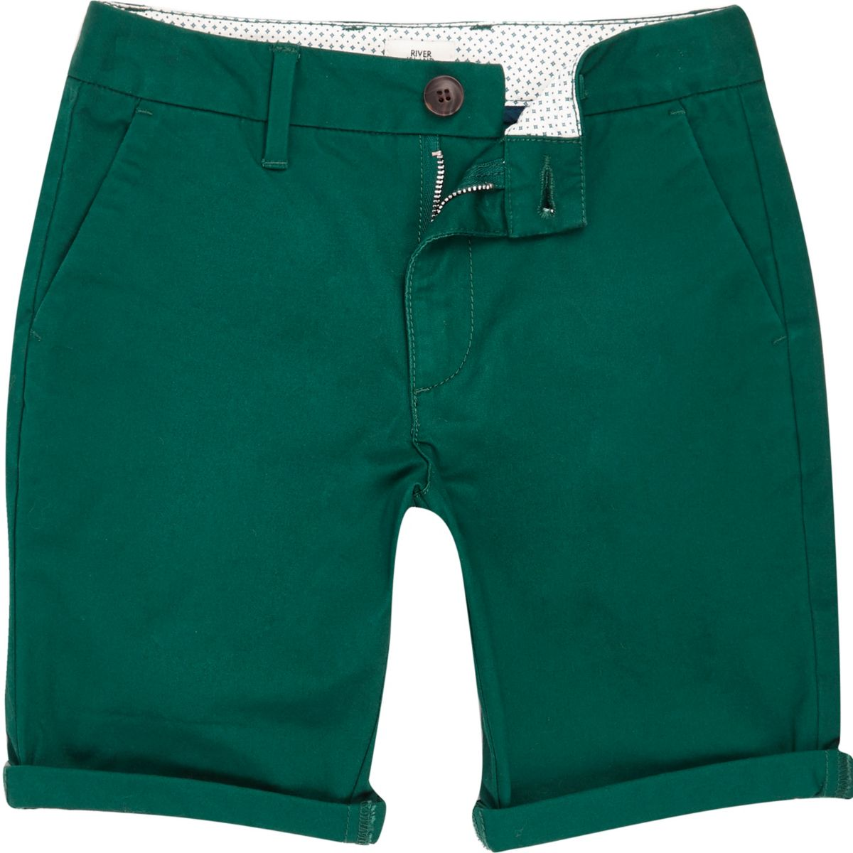 Boys green smart chino shorts