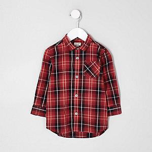 Rot kariertes Mini-Langarmhemd für Jungen