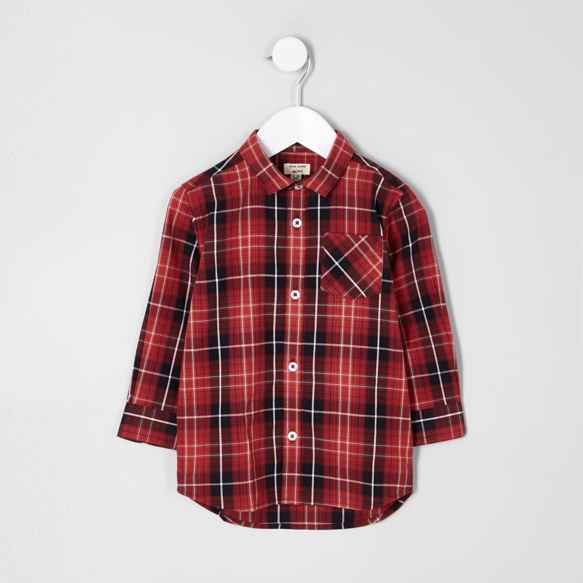 Mini boys red check long sleeve shirt