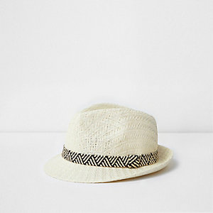 Mini boys cream straw trilby hat