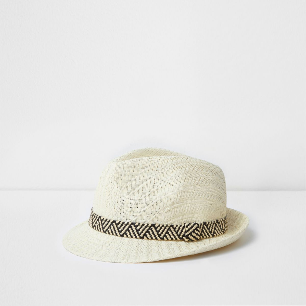 Mini boys cream straw trilby hat