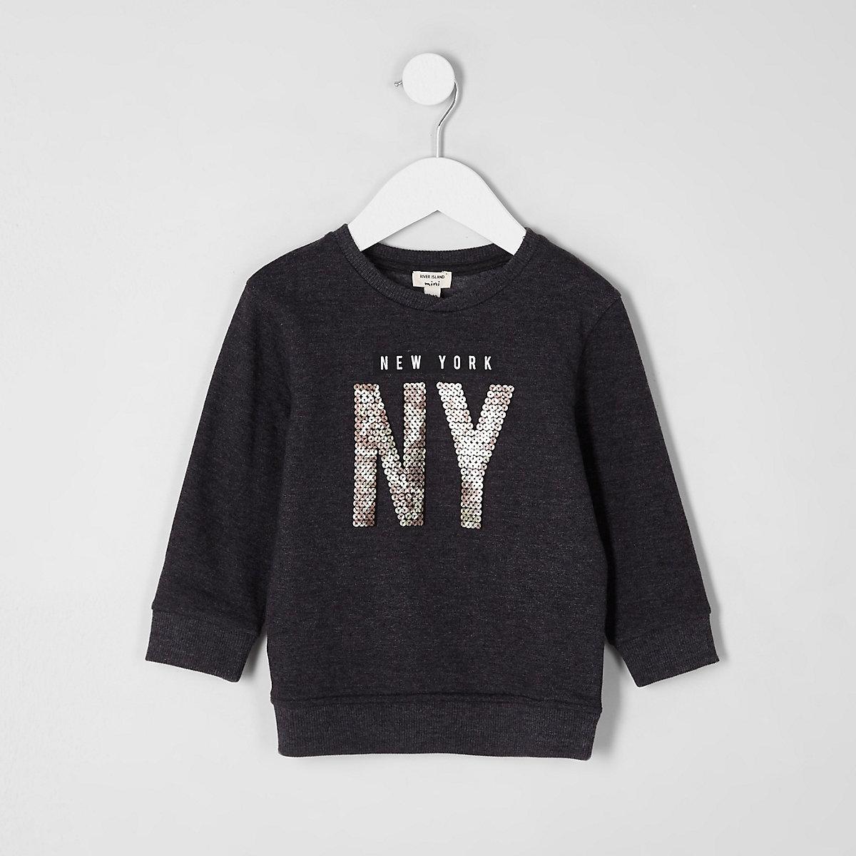 Mini boys grey marl 'NY' sequin sweatshirt
