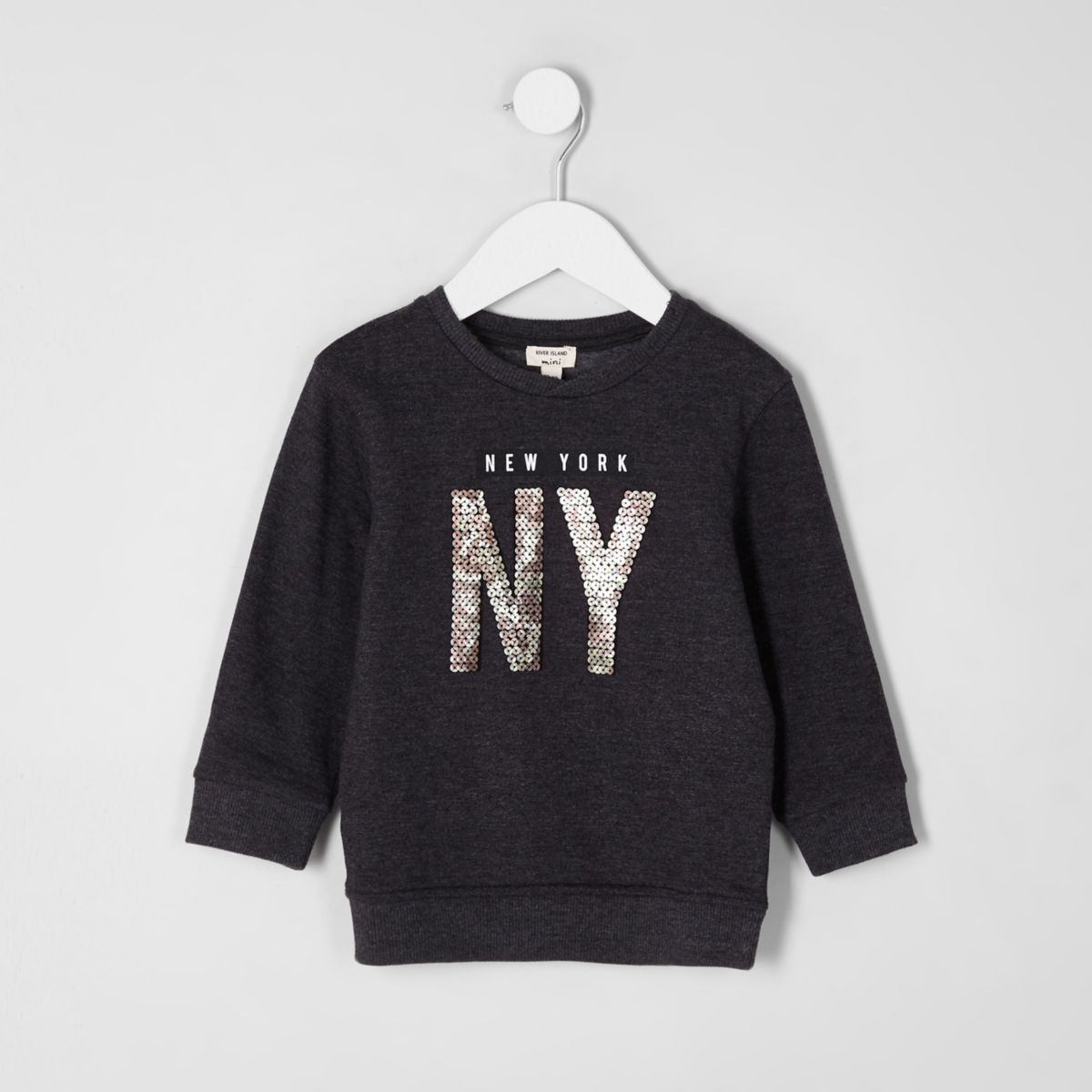 Mini boys grey marl 'NY' sequin sweatshirt