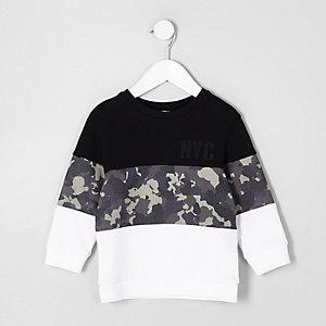 Mini - Zwart sweatshirt met 'NYC'- en camouflageprint voor jongens