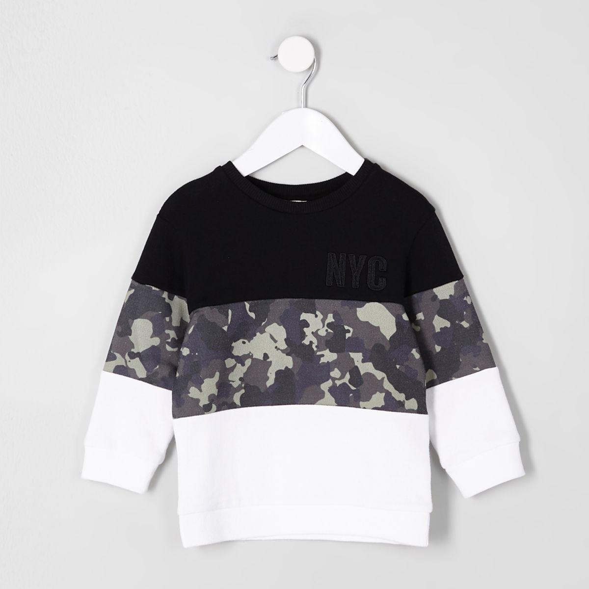 Mini boys 'NYC' black camo block sweatshirt