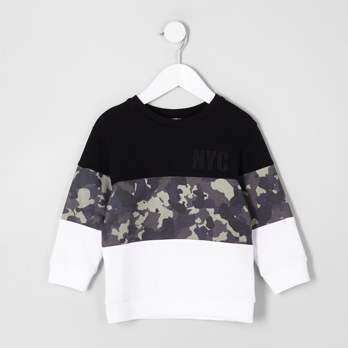 Mini boys 'NYC' black camo block sweatshirt