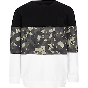 Boys black blocked camo print sweatshirt
