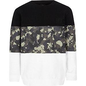Zwart sweatshirt met geblokte camouflageprint voor jongens