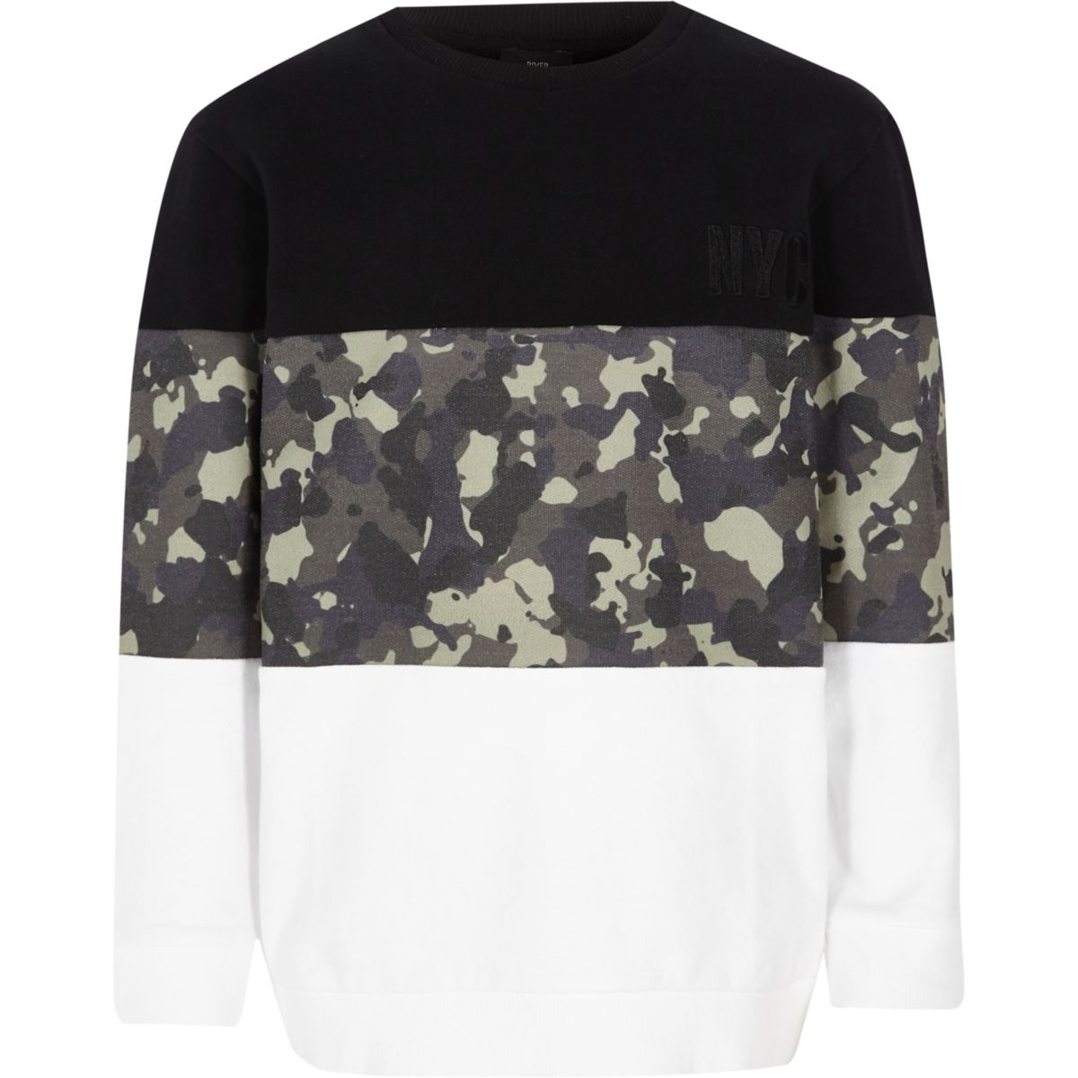 Boys black blocked camo print sweatshirt