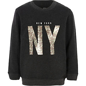 Boys grey marl 'NY' sequin sweatshirt