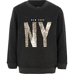 Boys grey marl 'NY' sequin sweatshirt