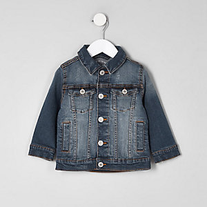 Mini boys blue ripped denim jacket