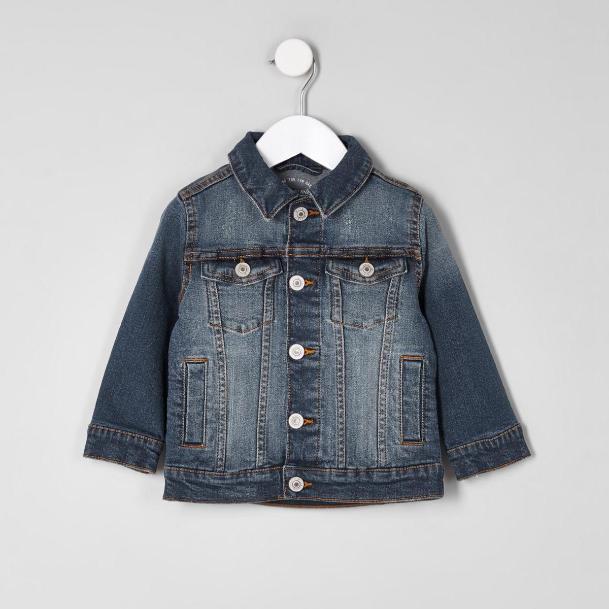 Mini boys blue ripped denim jacket