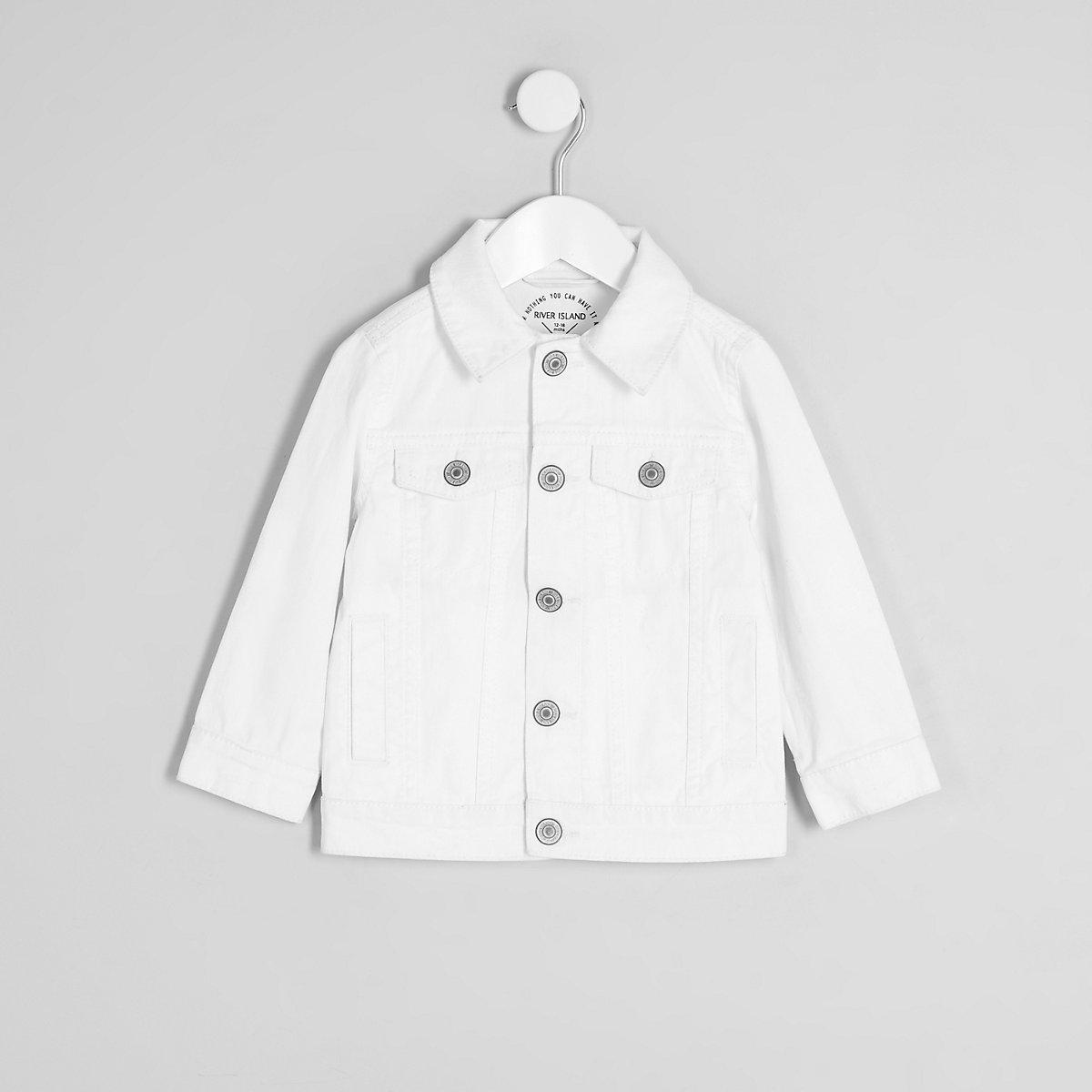 Mini kids white ripped denim jacket
