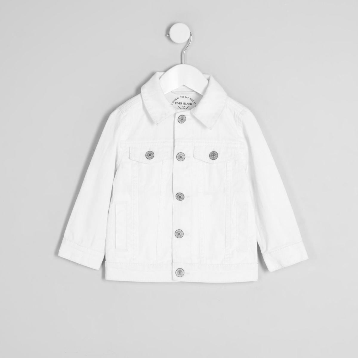 Mini kids white ripped denim jacket
