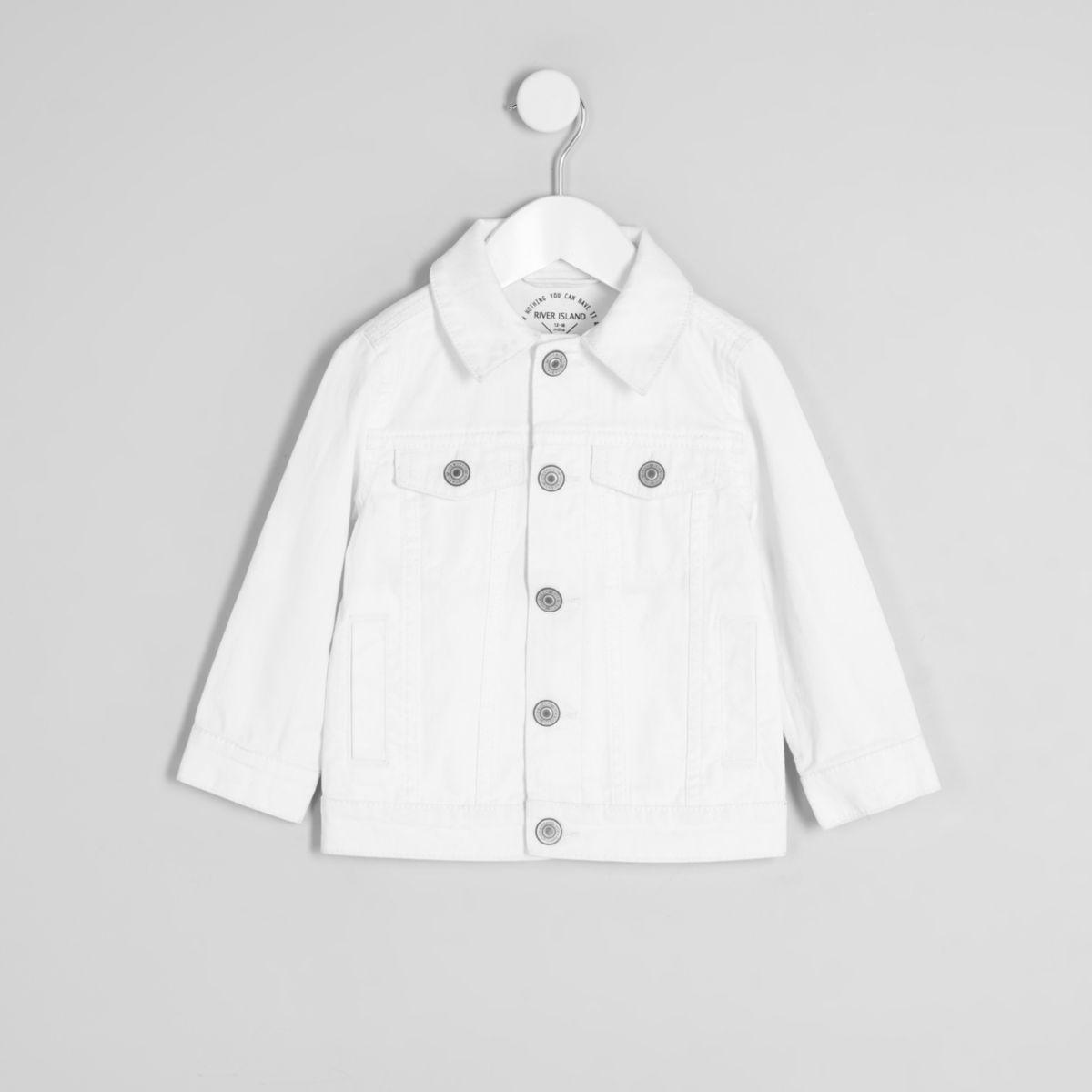 Veste en jean blanche déchirée mini enfant