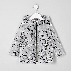 Mini - Zwarte regenjas met verfspetterprint voor jongens